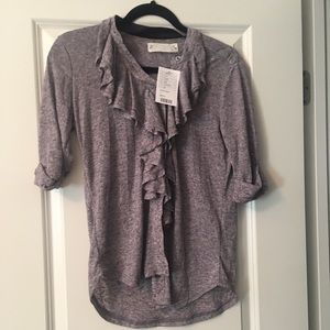 Ruffle button down Anthropologie blouse size large